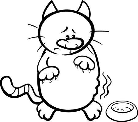 bowl: Black and White Cartoon Illustration of Hungry Cat with Empty Bowl for Coloring Book