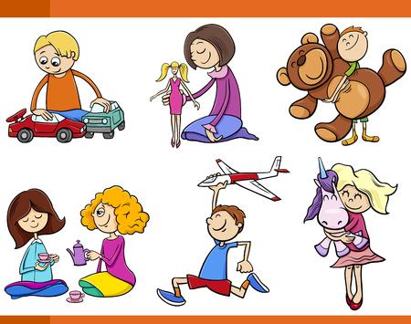 carritos de juguete: Cartoon Ilustración de niños con los juguetes Set