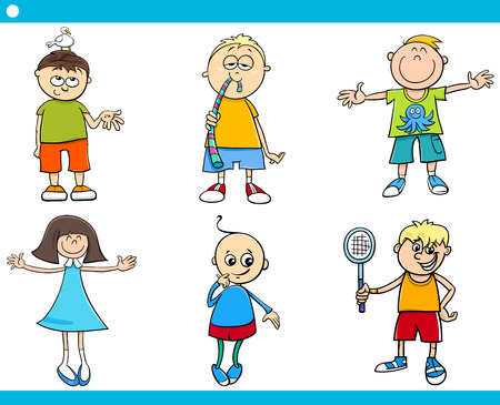 gummy: Cartoon Illustration of Cute Boys and Girls Children Characters Set Illustration