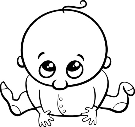 black baby boy: Black and White Cartoon Illustration of Cute Little Baby Boy for Coloring Book