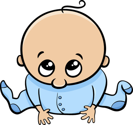 comic baby: Cartoon Illustration of Cute Little Baby Boy