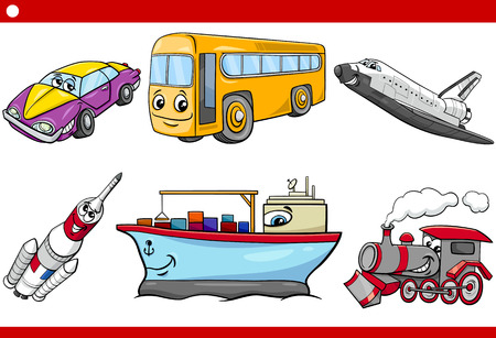 cartoon land: Cartoon Illustration of Land and Air and Sea Vehicles Characters Set for Children