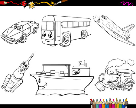 Black and White Cartoon Illustration of Cute Kids with Toys Set for Coloring Book Illustration