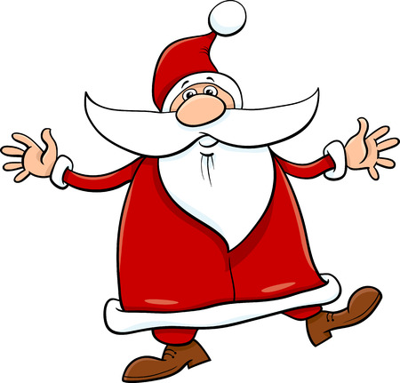 christmas cartoon: Cartoon Illustration of Santa Claus on Christmas Time