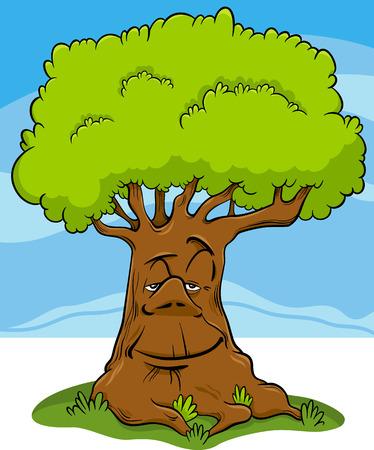 Cartoon Illustratie van Tree of Fantasy Fairy Tale Character Vector Illustratie