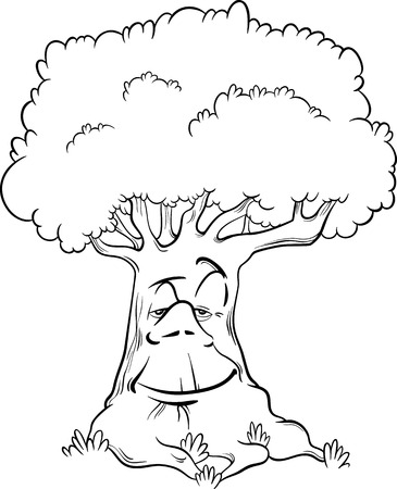 coloring book pages: Black and White Cartoon Illustration of Tree Fantasy or Fairy Tale Character for Coloring Book