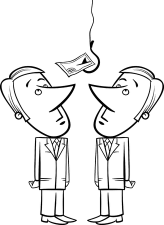 hook up: Black and White Concept Cartoon Illustration of Two Businessmen Looking up on Money Bait on Fishing Hook