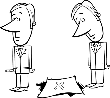 Black and White Concept Cartoon Illustration of Businessman and the Trap
