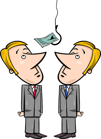 hook up: Concept Cartoon Illustration of Two Businessmen Looking up on Money Bait on Fishing Hook