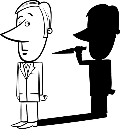 stab: Black and White Concept Cartoon Illustration of Businessman and his Bad Shadow with Knife