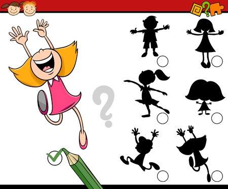 task: Cartoon Illustration of Educational Shadow Task for Preschool Children with Girls