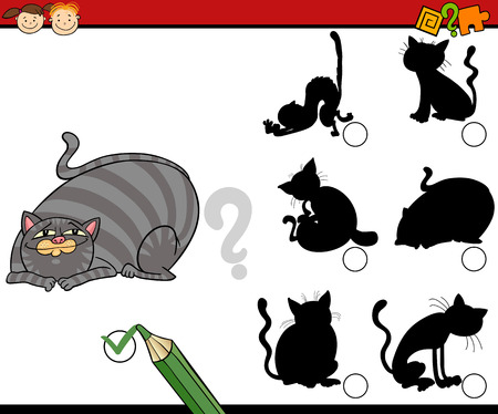 shadow silhouette: Cartoon Illustration of Educational Shadow Task for Preschool Children with Cats