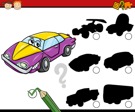 Cartoon Illustration of Educational Shadow Task for Preschool Children with Car and Vehicles