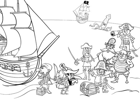 pirate cartoon: Black and White Cartoon Illustrations of Fantasy Pirate Characters with Ship on Treasure Island for Coloring Book Illustration