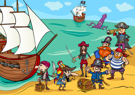 cartoon hat: Cartoon Illustrations of Fantasy Pirate Characters with Ship on Treasure Island