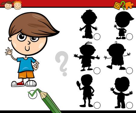 tasks: Cartoon Illustration of Educational Shadow Task for Preschool Children with Boys