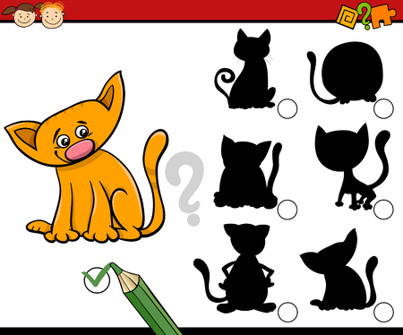 task: Cartoon Illustration of Educational Shadow Task for Preschool Children with Cats or Kittens