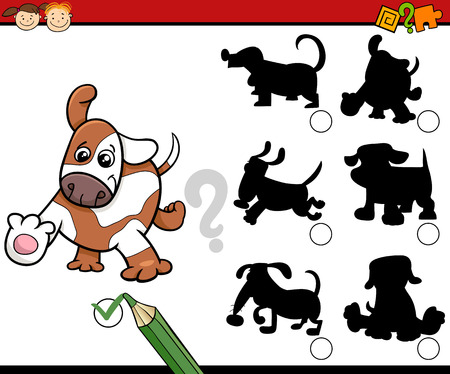 task: Cartoon Illustration of Educational Shadow Task for Preschool Children with Dogs or Puppies