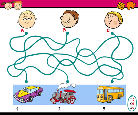 the way: Cartoon Illustration of Education Paths Puzzle Task for Preschoolers with Boys and Vehicles