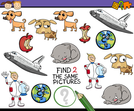 accurately: Cartoon Illustration of Find Identical Picture Educational Task for Preschool Children with Comic Characters
