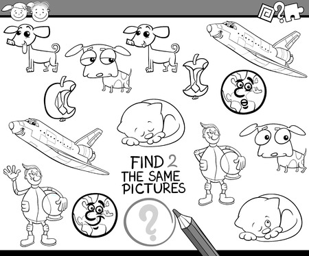 accurately: Black and White Cartoon Illustration of Find Identical Picture Educational Task for Preschool Children with Comic Characters for Coloring Book