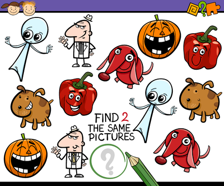 brain teaser: Cartoon Illustration of Find Identical Picture Educational Task for Preschool Children with Comic Characters