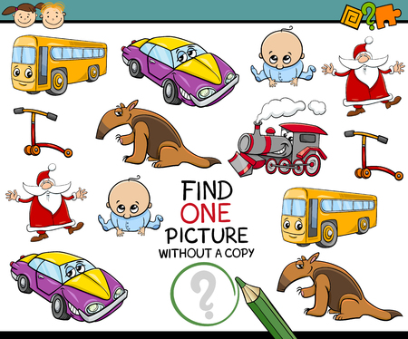 preschoolers: Cartoon Illustration of Educational Game of Single Picture Search for Preschoolers