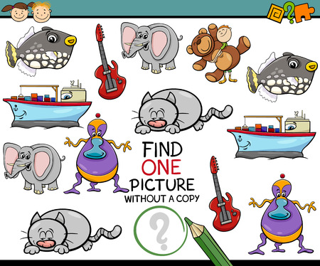 funny animals: Cartoon Illustration of Educational Picture Search Task for Preschool Children