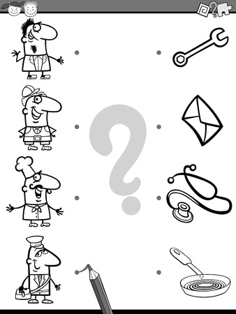 brain teaser: Cartoon Illustration of Education Element Matching Task for Preschool Children with People Occupations Coloring Book