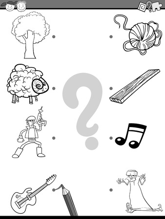 playschool: Cartoon Illustration of Education Picture Matching Task for Preschool Children with People and Objects Coloring Book