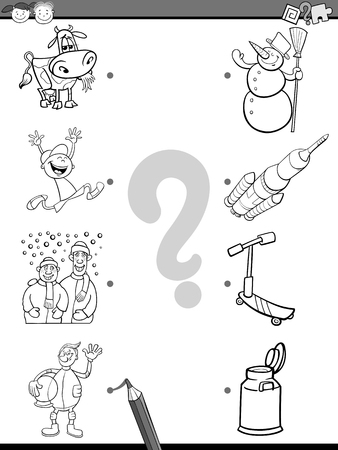 playschool: Cartoon Illustration of Education Picture Matching Game for Preschool Children with People and Objects Coloring Book