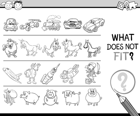 improper: Black and White Cartoon Illustration of Finding Improper Picture in the Row Educational Game for Children Coloring Book Illustration