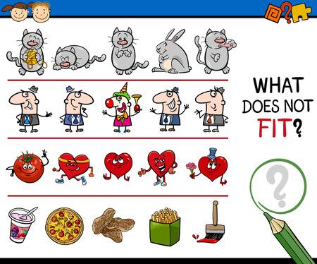 brain teaser: Cartoon Illustration of Finding Wrong Item in the Row Educational Task for Preschool Kids Illustration