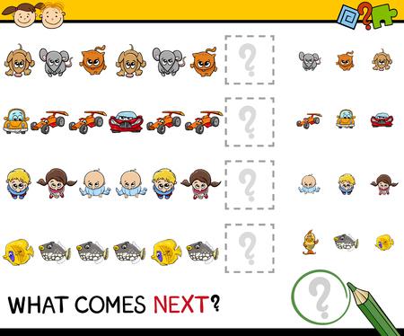 completing: Cartoon Illustration of Completing the Pattern Educational Task for Preschool Children Illustration