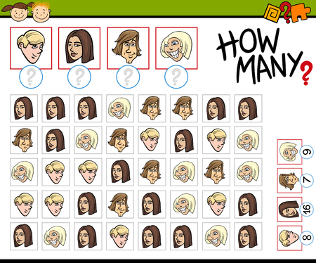 numbering: Cartoon Illustration of Educational Counting Task for Preschool Kids with Teen Faces