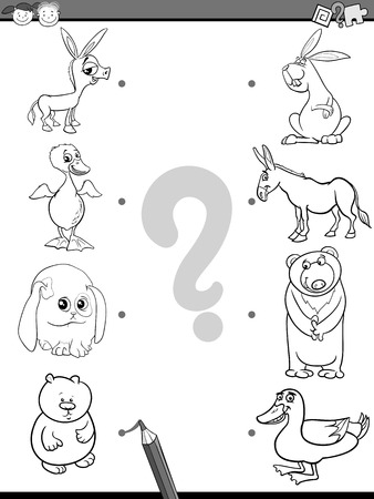 brain teaser: Black and White Cartoon Illustration of Education Element Matching Game for Preschool Children with Baby Animals and their Mothers Coloring Book
