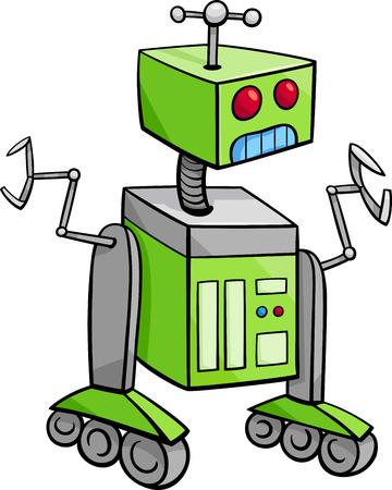 droid: Cartoon Illustration of Robot Science Fiction Character Illustration