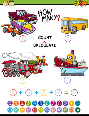 math cartoon: Cartoon Illustration of Educational Mathematical Count and Addition Game for Preschool Children with Transportation Characters Illustration
