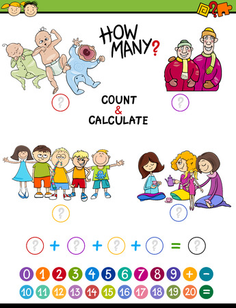 enumerate: Cartoon Illustration of Educational Mathematical Count and Addition Game for Preschool Children with People Characters