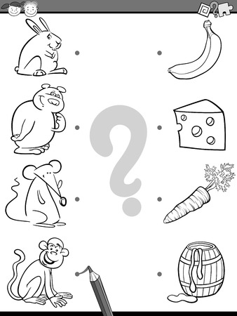 favorite book: Black and White Cartoon Illustration of Education Picture Matching Task for Preschool Children with Animals and their Favorite Food for Coloring Book