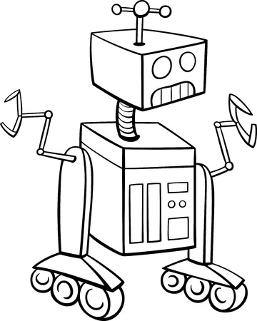 droid: Black and White Cartoon Illustration of Robot Science Fiction Character for Coloring Book Illustration