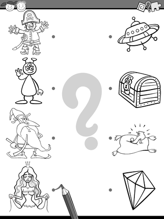 correspond: Black and White Cartoon Illustration of Education Element Matching Game for Preschool Children with Fantasy Characters Coloring Book