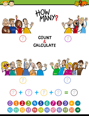 addition: Cartoon Illustration of Educational Mathematical Count and Addition Task for Preschool Children with People Characters Illustration