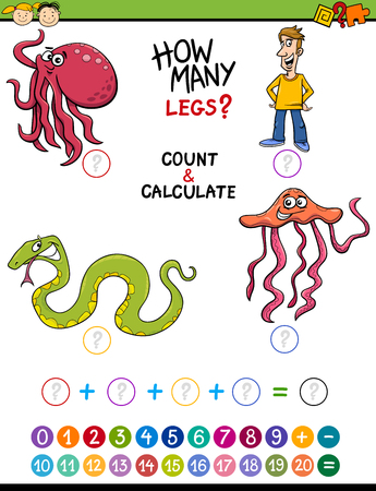 addition: Cartoon Illustration of Education Mathematical Count and Addition Task for Preschool Children with Funny Characters Illustration