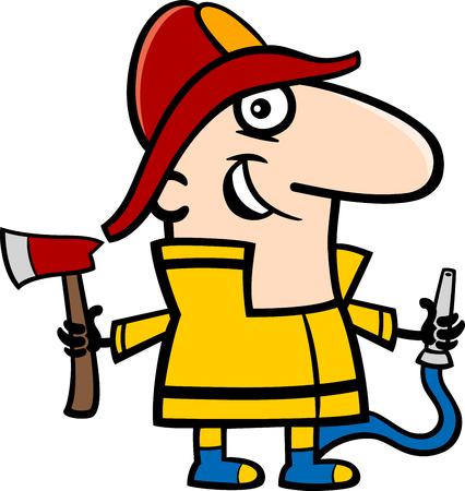 professional occupation: Cartoon Illustration of Funny Fireman in Uniform Professional Occupation