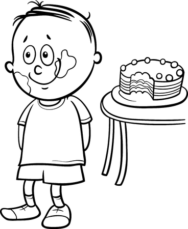 glutton: Black and White Cartoon Illustration of Little Gourmand Boy and Chocolate Cake for Coloring Book Illustration