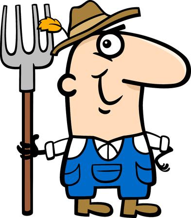 professional occupation: Cartoon Illustration of Funny Farmer Worker Professional Occupation
