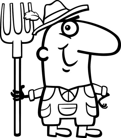 Black And White Cartoon Illustration Of Funny Farmer Worker Professional Occupation For Coloring Book