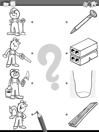 correspond: Black and White Cartoon Illustration of Education Picture Matching Task for Preschool Children with Workers For Coloring