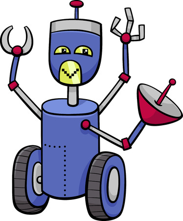 science and technology: Cartoon Illustration of Robot or Droid Comic Character